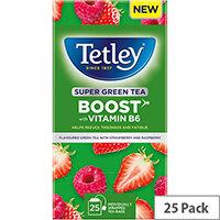 Tetley Super Green Tea BOOST Strawberry & Raspberry with Vitamin B6 Ref 4690A Pack of 25