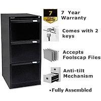 3 Drawer Steel Filing Cabinet Flush Front Black Bisley BS3E
