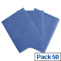2Work All Purpose Cleaning Cloths 580x330mm Blue Pack 50
