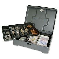 Cash Box Standard 10 Inch Manager Security Box 8 Compartments and Coin Counter Tray Mercury Grey