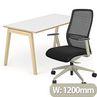 Nova Wood Home Office Desk White Desktop with Oak Edging & Solid Ash Legs W1200xD700mm&NV Posture Office Chair with Contoured Mesh Back and Adjustable Lumbar Support Lime White Frame Black Seat