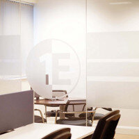 Glass Partitions With Frosted Window Film Company Logo Design: 1E