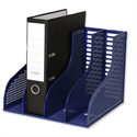 Recycled Plastic Magazine Rack Blue for Lever Arch 4 Sections Arnos