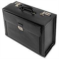 9b6f46c2fab ... Leather Pilot Case With Laptop Compartment 2 Combination Locks Black  Alassio Ferrara