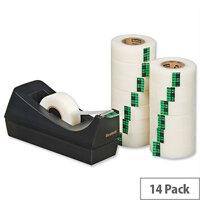 Scotch Magic Tape 900 Matt Roll 19mm x 33m Pack 14 and C38 Dispenser