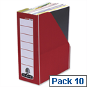 Fellowes Bankers Box Premium Magazine File Fastfold Red and White Pack 10