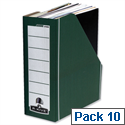 Fellowes Bankers Box Premium Magazine File Fastfold Green and White Pack 10
