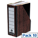 Fellowes Bankers Box Premium Magazine File Fastfold Internal Woodgrain Pack 10