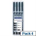 Staedtler Lumocolor Permanent Marker Assorted Nibs Sizes Pack 4