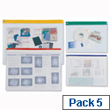 PVC Zip Pouch A3 Heavy Duty Clear Coloured Seal Assorted Pack 5 INDX