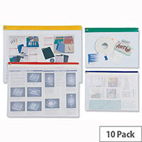 PVC Zip Pouch A4 Heavy Duty Clear Coloured Seal Assorted Pack 10 INDX