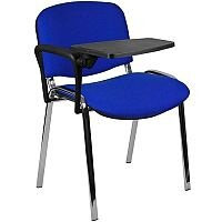 Stacking Sidechair with Writing Tablet Blue with Chrome Legs