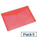 Rexel Carry Folder A4 Plastic Transparent Red Pack 5