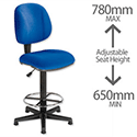 Trexus Intro Operators Draughtsman Chair High Rise Back H410mm Seat W490xD450xH650-780mm Blue
