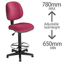Trexus Intro Operators Chair High Rise Back H410mm Seat W490xD450xH650-780mm Burgundy