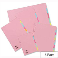 Concord Pastel A4 5-Part Subject Dividers 1 Set of 5 JT71199