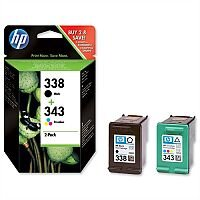 HP 338 and 343 Black & Colour Ink Cartridges Twin Pack SD449EE