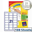 Avery L7160-100 Address Labels 21 per Sheet 63.5x38.1mm 2100 Laser & Inkjet Labels