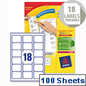 Avery L7161-100 Address Labels Laser 18 per Sheet 63.5x46.6mm White 1800 Labels