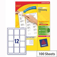 Avery L7164-100 Address Labels Laser 12 per Sheet 63.5x72mm White 1200 Labels