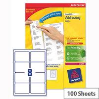 Avery L7165-100 Address Labels Laser 8 per Sheet 99.1x67.7mm White 100 Sheets
