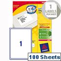 Avery L7167-100 Address Labels Laser 1 per Sheet 199.6 x 289.1mm White 100 Labels