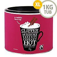 Clipper Fairtrade Hot Drinking Chocolate Instant Powder Organic 1kg Tin