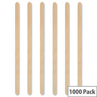 MyCafe Disposable Cutlery Wooden Coffee  Wooden Stirrers 7inch Pack 1000