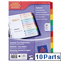 Avery 10-Part Index Dividers Card Coloured Mylar Tabs