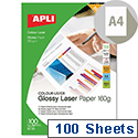 Apli Double Sided Laser Printer Photo Paper Glossy A4 160gsm (Pack of 100)