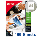 Apli A4 Glossy Laser Printer Paper 210gsm (Pack of 100)