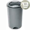 Smart Bin 50 Litres Capacity Rotating Lid and Footplate D387 x H748mm Metallic
