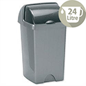 Plastic Waste Bin 24 Litres Capacity Roll Top Metallic Grey 510679/510694