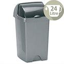 Plastic Waste Bin 24 Litres Capacity Roll Top Metallic Grey 510679/510694