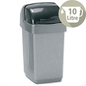 Plastic Waste Bin 10 Litres Capacity Roll Top Metallic Grey 9573