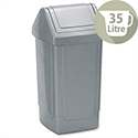 Swing Top Waste Bin Grey 35 Litres 325 x 325 x 640mm Addis