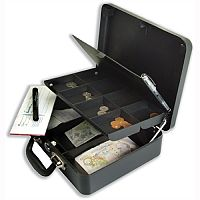 Helix Petty Cash Box with Organiser Coin Tray 8-Part and Note Section 3-Part W320xD320xH110mm