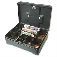 Helix High Capacity Cash Box Anthracite Black 8 Coin Compartments Note Section 3 Part Pack of 1 CM8020