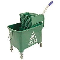 Mop Bucket Mobile Colour-coded with Handle 4 Castors 20 Litre Green SPC/MB20G