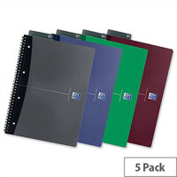 Oxford Office A4 Notebook Soft Cover Ruled 180 Pages Assorted Pack 5