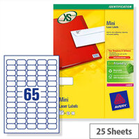 Avery Laser Labels L7651-25 Mini 65 per Sheet 38.1x21.2mm White 1625 Labels