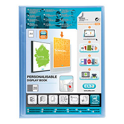 A4 Pocket Display Book Blue Plastic 20 Clear Pockets Elba Polyvision