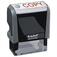 Trodat Copy Stamp Self Inking Red Symbol and Blue Wording 18 x 46mm