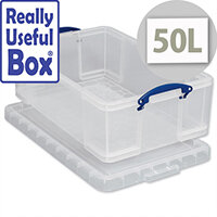 Plastic Storage Box 50 Litre Stackable Clear Really Useful