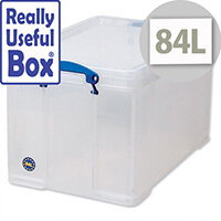 Plastic Storage Box 84 Litre Stackable Clear Really Useful