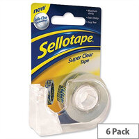 Sellotape Super Clear Tape Rolls with Dispenser 18mm x 15m Pack 6