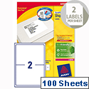 Avery L7168-100 Address Labels Laser 2 per Sheet 199.6 x 143.5mm White 200 Labels