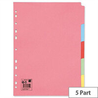 5-Part Subject Dividers Multipunched A4 Assorted 5 Star