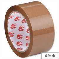 5 Star Polypropylene Packing Tape 48mm x 66m Buff 6 Pack