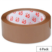 Packing Tape Polypropylene 33mm x 66m Buff  Pack of 6  5 Star
